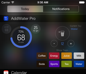 The Today widget showing the tags you can attach to the drink amount you save.