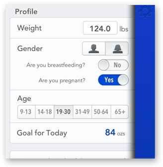 Math doesn't lie... AddWater's hydration goals are based on your weight, age and gestational status (for the ladies).